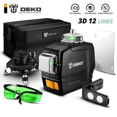 Лазерный уровень DEKO 3D 360' зелёный луч!