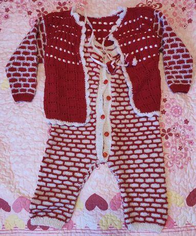 Детский вязанный шерстяной костюм (ручная работа)