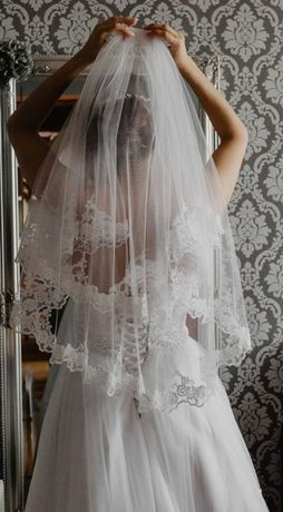 Piękny dwuwarstwowy Krótki Welon Koronka Tiul Ślub