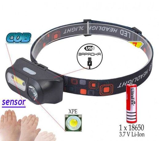 Ліхтар налобний LED ліхтарик на голову з акумулятором 18650 3,7 V Li-i