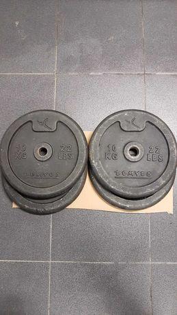 Pesos 4x10kg + Barra de musculação