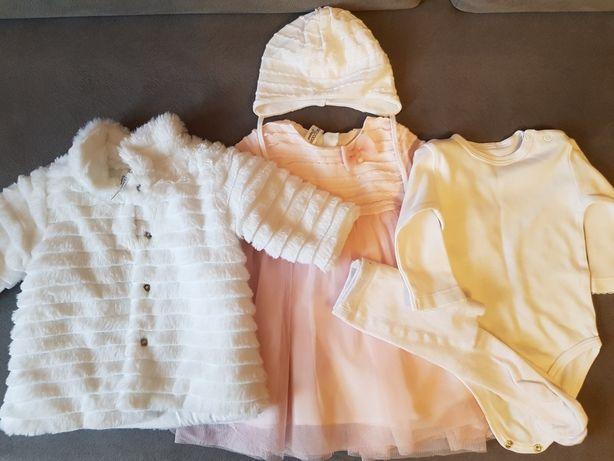 NOWY płaszczyk do chrztu 62 na zimę dla dziewczynki