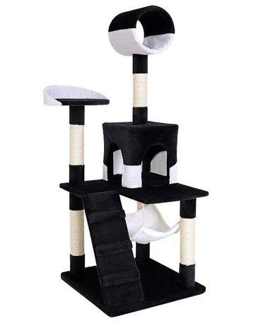 Drapak dla kota 133 cm, czarny/biały DIBEA 3 poziomy