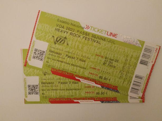Bilhetes VOA passe 2 dias 2022