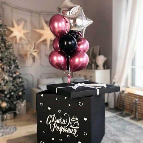 Коробка сюрприз с шариками, гелевые шары