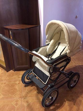 Коляска дитяча Бежева - Roan Marita 2 в 1 (надувні колеса)