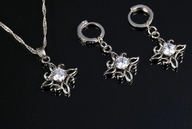 Komplet biżuterii srebrnej próby 925 łańcuszek wisiorek kolczyki