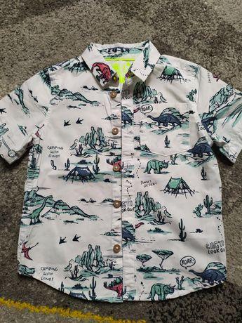 Koszula elegancka  biała chłopięca w  dinozaury 98