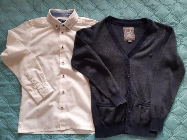 Zestaw elegancka koszula i sweter, stan dobry, chłopiec, r. 134!