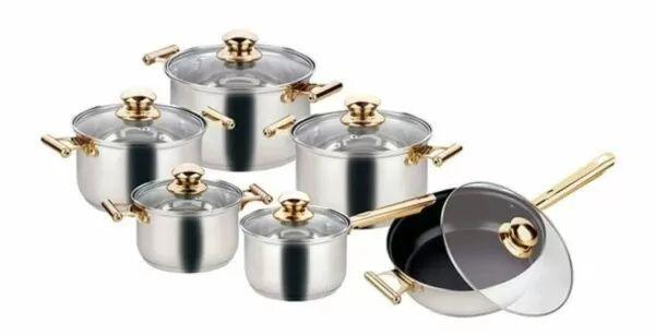 Набор кастрюль со сковородкой, крышками и фритюром