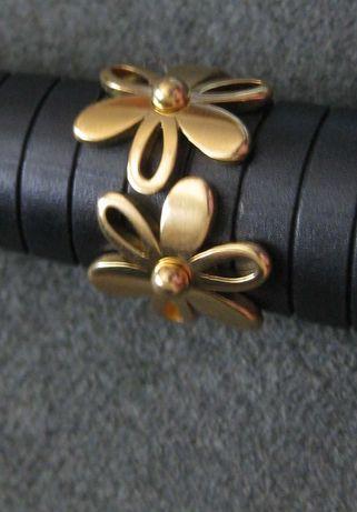 Anel Aço Dourado Flores NOVO