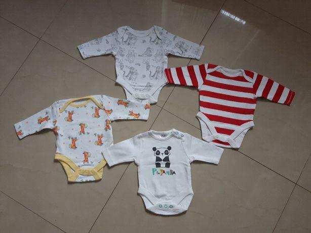zestaw body 4-pak r.50 F&F ubranka newborn jak nowe
