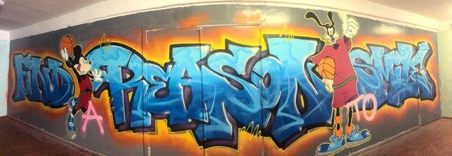 Граффити оформление, роспись стен, реклама в стиле графити, муралы