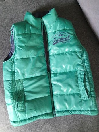 Ciepła pikowana kamizelka dla chłopca kurtka 116 CM zielona