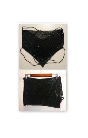 strój do tańca karnawałowy materiał satyna cekiny r. XS kolor czarny