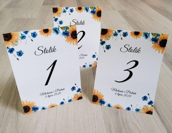 Numerki na stół weselny CHABRY I SŁONECZNIKI