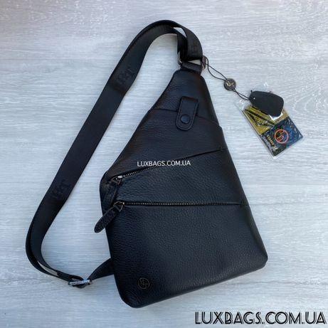 Мужская компактная нагрудная сумка слинг H.T. Leather