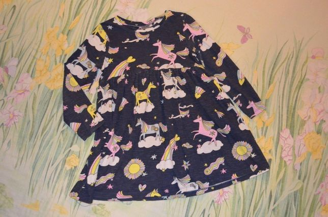 Платье с рукавом , лошадки пони 4-5 лет