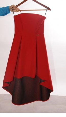 Asymetryczna czerwona sukienka A&A 36 s