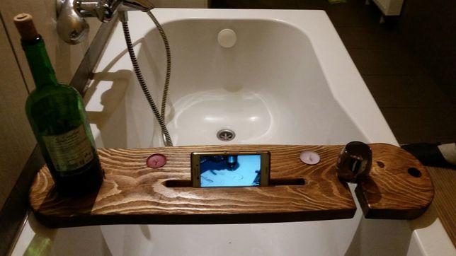 Deska na wannę polka dekoracja drewno prezent telefon tablet książka
