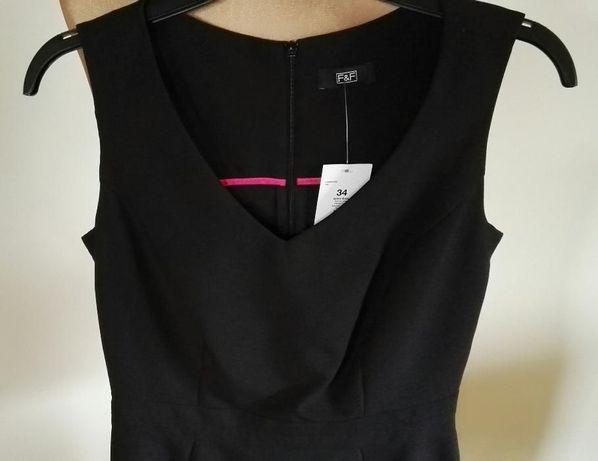 Sukienka czarna NOWA r. 34 F&F elegancka