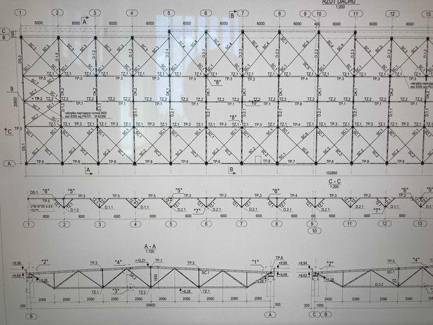 NOWA Konstrukcja stalowa dachu ok. 21 m x 100 m = 2.100 m2