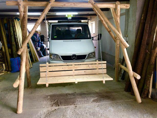 Huśtawka ogrowdowa drewniana z bali, transport