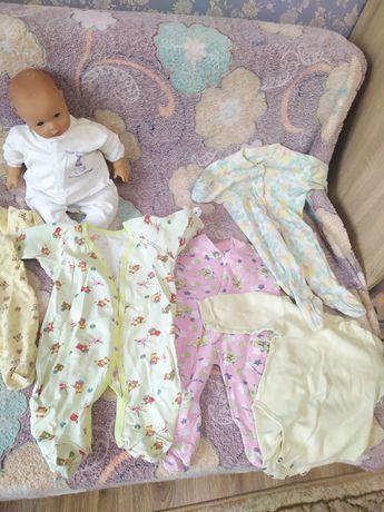 Пакет одежды ( бодик, человечек) на девочку от рождения до года