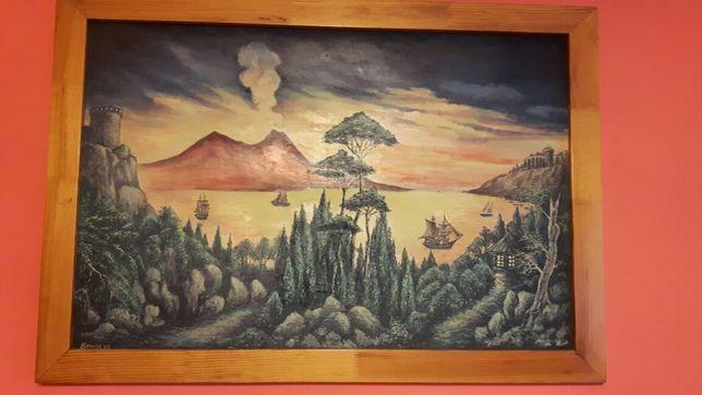 Obraz olejny w ramce drewnianej