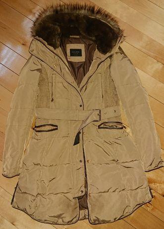 Zara kurtka zimowa puchowa pierze pasek taliowana skóra złoto s 36