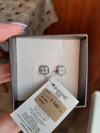 Серьги сережки серебро 925 проба