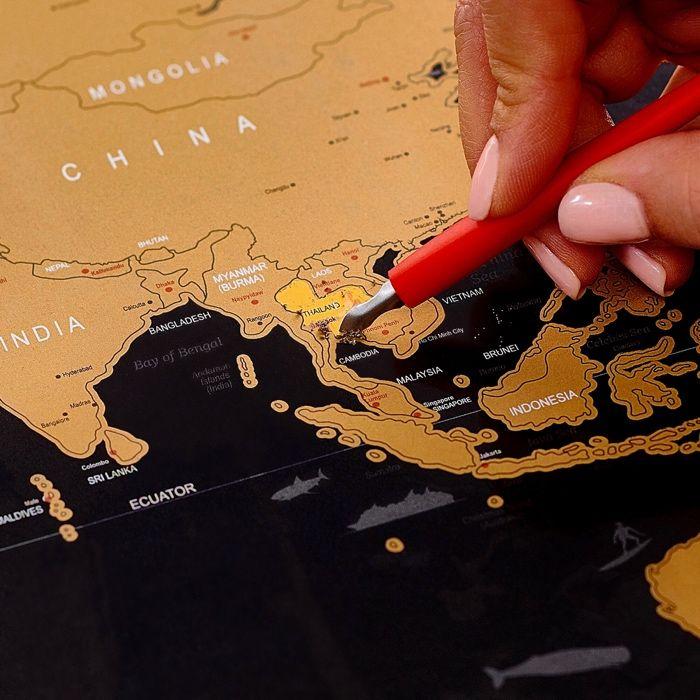 Скретч карта мира в рамке на подарок любимым Киев - изображение 1