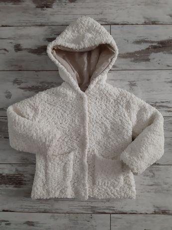 Zara ciepła kurtka, bluza baranek dla dziewczynki, ecru r. 98