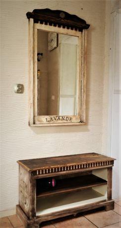 Zestaw do przedpokoju , łazienki , lustro + szafka , retro , vintage