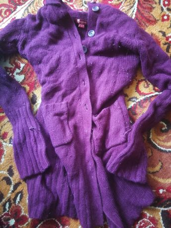Sweter długi wełniany fioletowy pluszaki Kubuś Puchatek i inne
