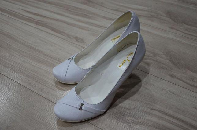 Buty białe ślubne obcasy rozmiar 39