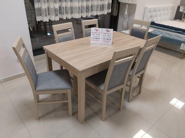 (738) Okazja! Stół rozkładany + 6 krzeseł, wyprzedaż 990 zł