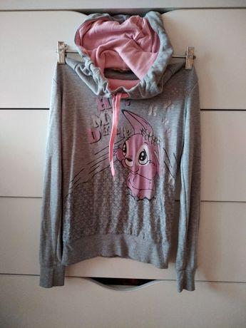 Серая кофта с капюшоном рисунок розовый заяц