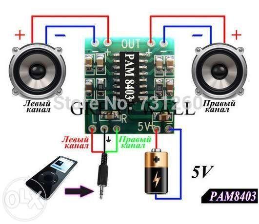 Мини-усилитель (Стерео,аудио) 2х3 Вт 5В D-класса PAM8403