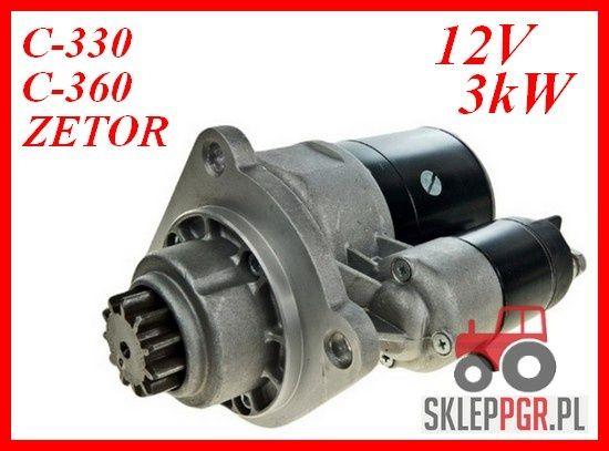 Rozrusznik szybkoobrotowy C360 C330 ZETOR 3kW Dostępne MF T25 MTZ C385