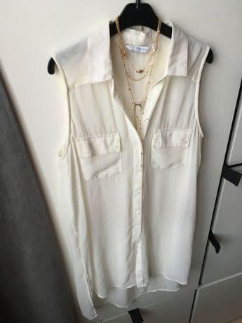 Mgiełka New Look ecru dłuższa koszula kieszonki S 36 tumblr elegancka