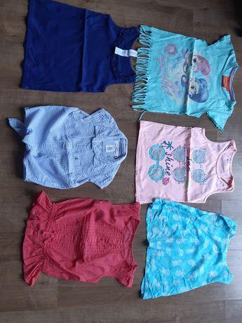 Śliczne bluzeczki dla dziewczynki, rozm 110-116, 6 sztuk