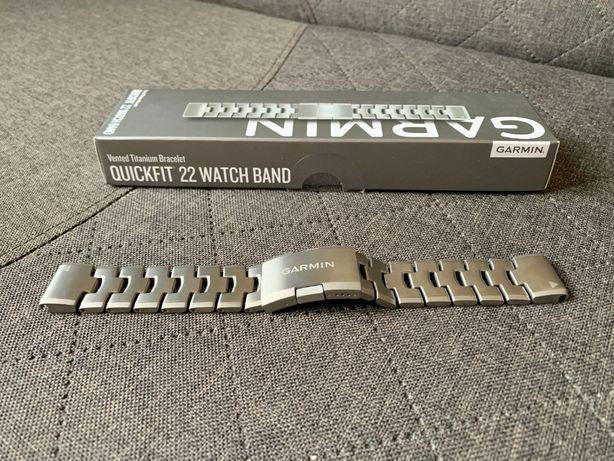GARMIN tytanowa NOWA bransoleta z otworami Quick Fit 22 mm - Fenix 5/6