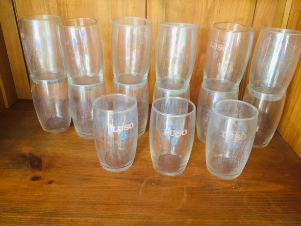 16 copos de vidro - Ãguas do Luso
