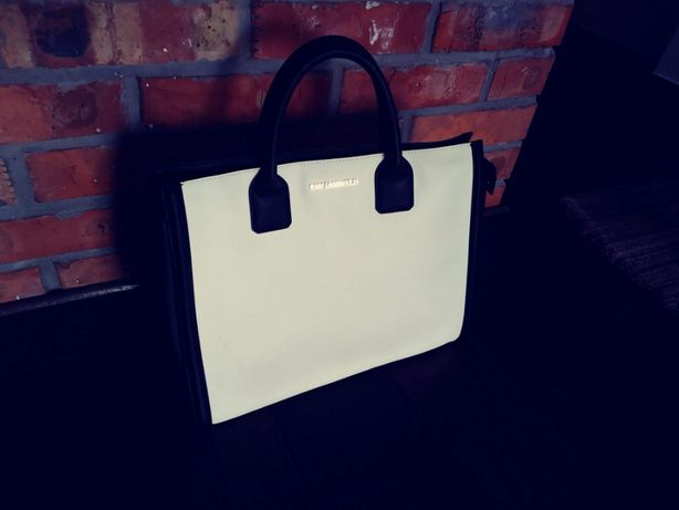 Torebka damska bialo/czarna,od Karla Lagerfelda,ze skory.