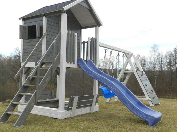 Domek dla dzieci plac zabaw wspinaczka ślizg huśtawka piaskownica dom