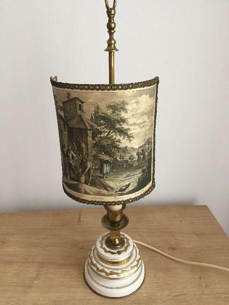 Lampka cermiczono-mosiężna -scenka rodzajowa - antyk - NOWA CENA