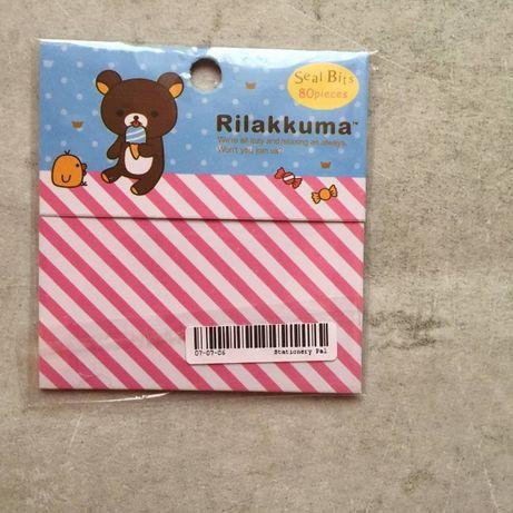 Стикеры в упаковке, на прозрачной оснвое - коричневый мишка