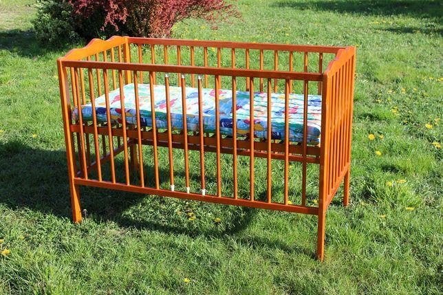 Łóżeczko dziecięce drewniane z wyjmowanymi szczebelkami 120x60 cm