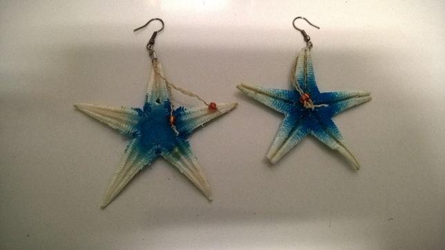 Brincos Estrelas do Mar Branco e Azul (portes incluídos)